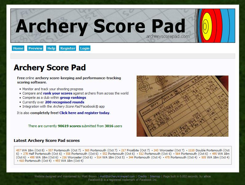 archery score pad